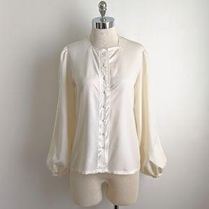 vintage 70's ribbon detail poet sleeve blouse